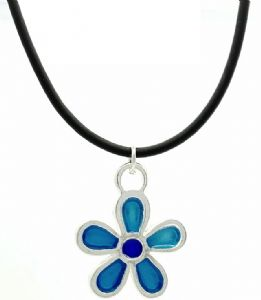 Kids Blue Daisy Flower Fashion Necklace